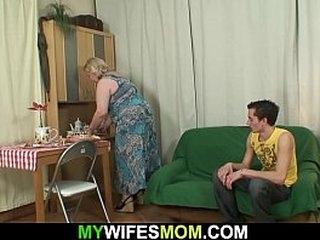 Big tits m. sucks his young cock