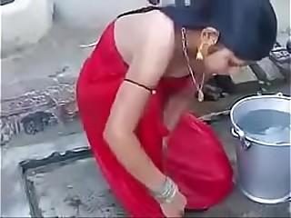 indian girl bathing