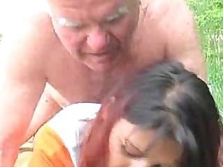 Old Man Fucks Granddaughter Outdoors